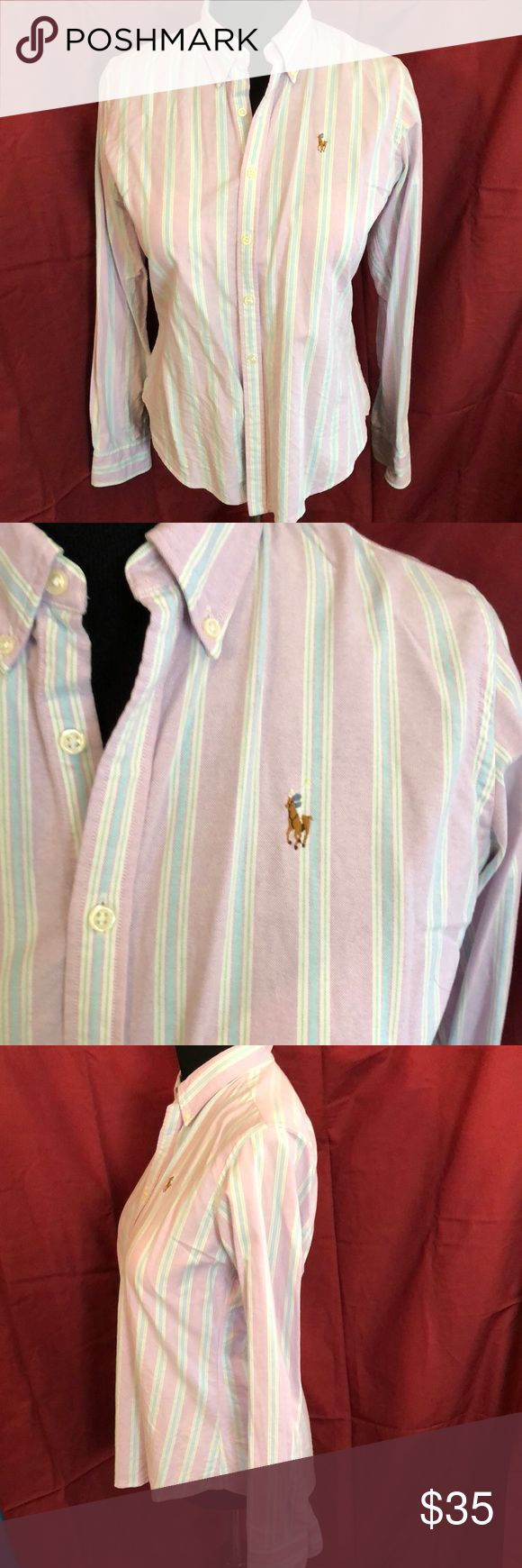 Ralph Lauren Polo striped slim fit button down Vintage Ralph Lauren Polo striped button down in lavender, light blue, green and white. Slim fit. Fits true to size but tailored vs boxy. Gives you a very flattering shape. Ralph Lauren Tops Button Down Shirts