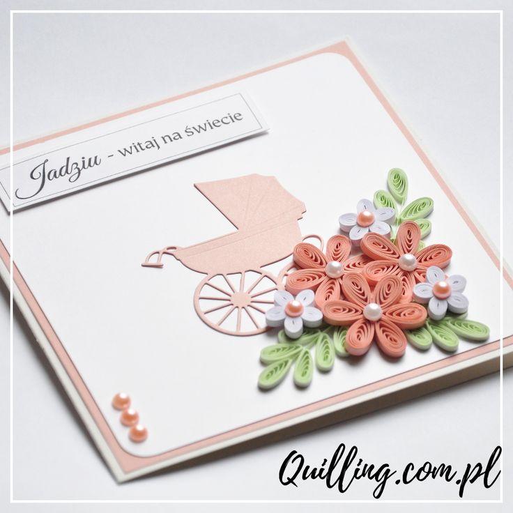 quilling, husking, greeting card, newborn, baby, girl, handmade, paperart, craft, quilling.com.pl