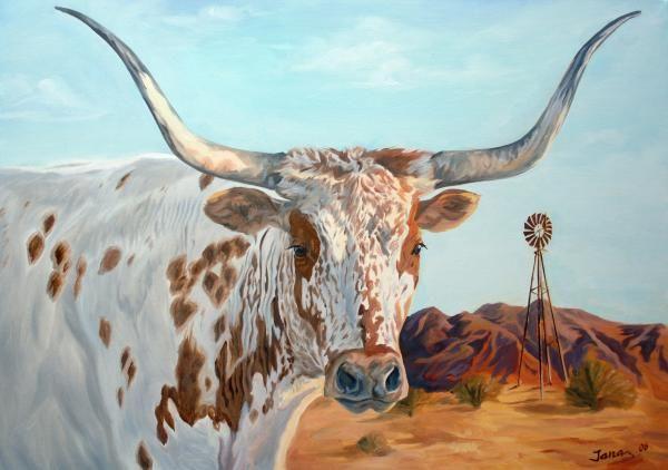 Texas longhorn painting - Jana Goode