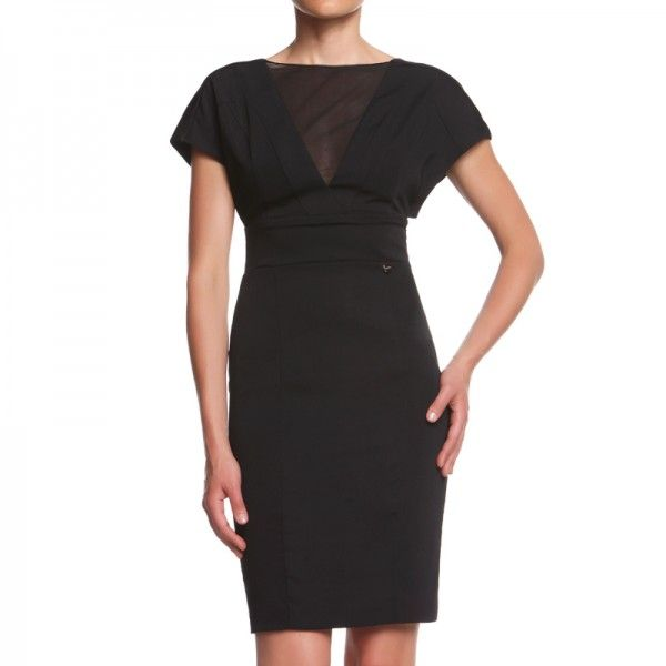MORGHY DRESS Sheath dress with large sleeves and tulle insert on the neckline. http://shop.mangano.com/en/dresses/16698-abito-morghy.html