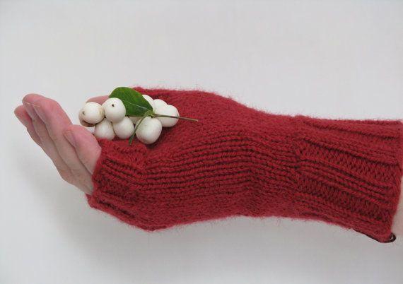 Knitted Fingerless Gloves Red Wool and by AGirlNamedMariaDK on Etsy #glove #gloves #fingerless #mitten #mittens #wrist #wrists #warmers #warmer #warm #red #cranberry #scarlet #winter #fall #autumn #fashion #denmark #danish #design #ribbed #ribbing #rib #pattern #lace #feminine #women #womens #woman #girl #girls #gift