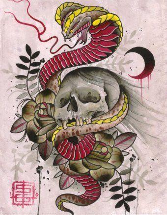 Cobra And Skull by Samuel Gosson Asian Tattoo Design Canvas Art Print – moodswingsonthenet