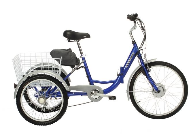 """City Adult Folding Electric Tricycle 36v 24"""" Adult Folding Trike Frame Size :16.5"""" Shimano 6 speed Revoshift with Shimano Rear Derailleur Shimano Bottom Bracket Alloy Front """"v"""" Brake, Rear Roller Brake Tektro Brake Levers Single Chainset with Enclosed Chainguard 24"""" Alloy Front Wheel / 20"""" Alloy Rear Wheels 24 x 1.75 Front tyres / 20 x 1.75 Rear tyres Wheel Specification: Alloy rims on steel hubs with 36 spokes. Alloy Adjustable Angle Stem with Hi-Rise Silver Alloy Handlebars"""