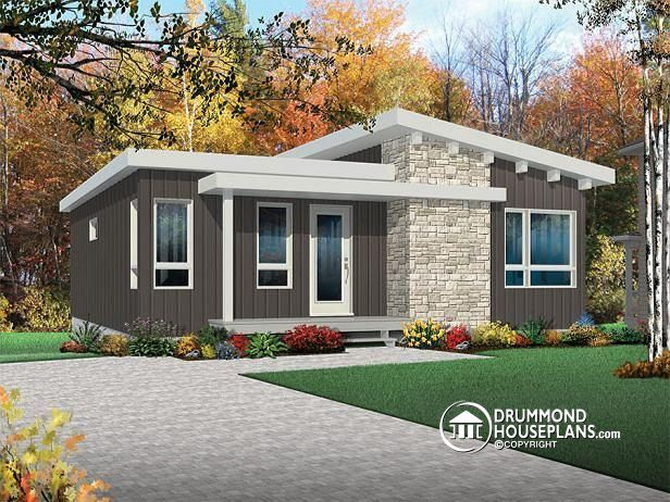 W3149   Affordable Modern 4 Bedroom House Plan, 2 Family Rooms, Walk In  Pantry