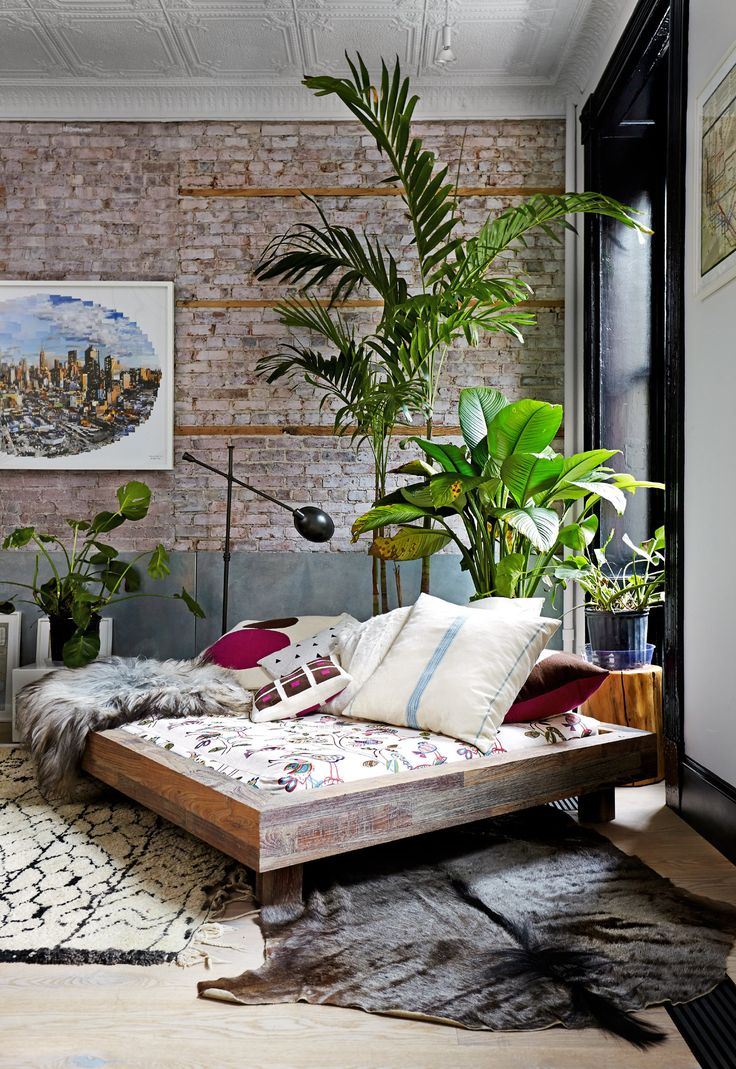 Tropical corner  in a New York City loft.