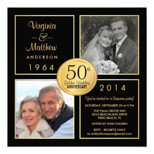50th Golden Wedding Anniversary Surprise Party Personalized Invitation