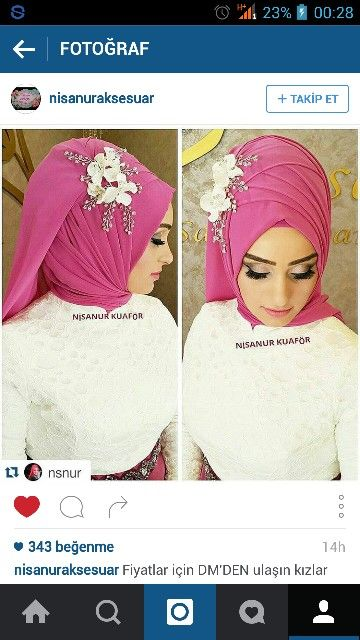 Pink hijab with white flower