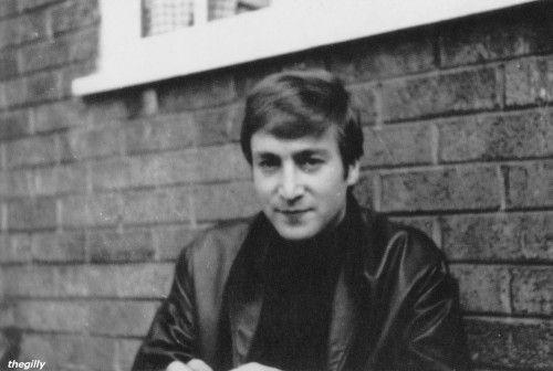 """John sitting outside Forthlin Road, September-October 1962. Scanned from """"Beatles Memorabilia: The Julian Lennon Collection"""""""