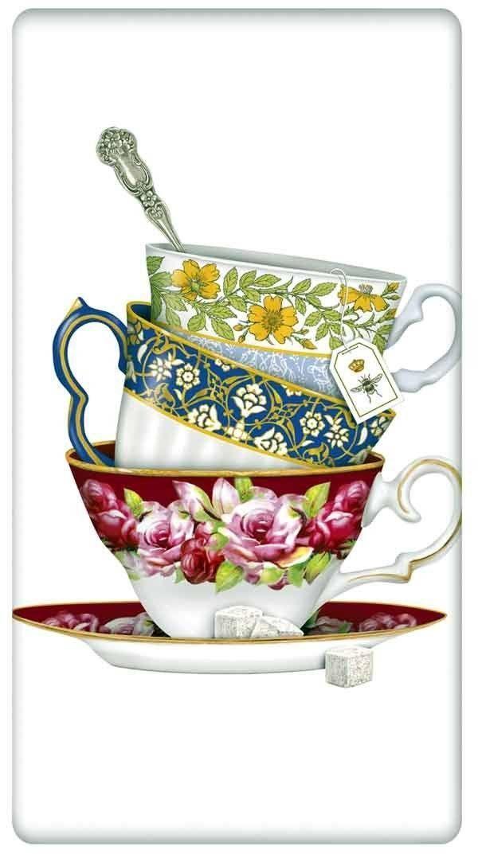 Flour Sack Kitchen Dish Towel Stacked China Floral Teacups Mary Lake Thompson | eBay