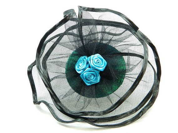 Fascinator turquoise teal black Ladies Hat Cocktail by Nashimiron