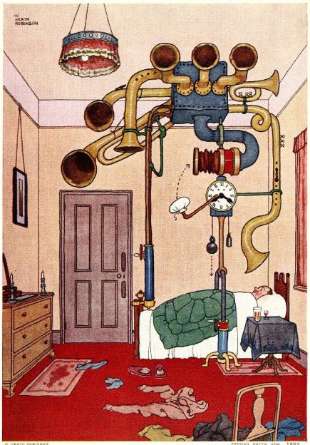 Heath Robinson's ingenious alarm clock.