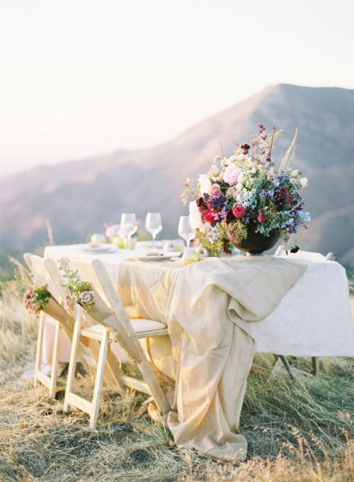 Outdoor dinner + flowers