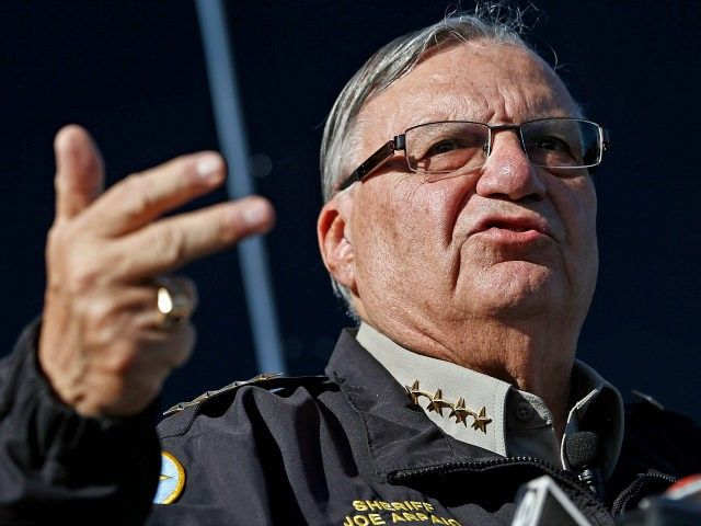 FILE - In this Jan. 9, 2013, file photo, Maricopa County Sheriff Joe Arpaio speaks to reporters in Phoenix, Ariz. The sheriff of metropolitan Phoenix has raised close to $10 million in his bid for a seventh term, a stunning collection of campaign riches for a local police race. Much of the money contributed to Arpaio was donated by a devoted base of backers who live outside Arizona. (AP Photo/Ross D. Franklin, File)