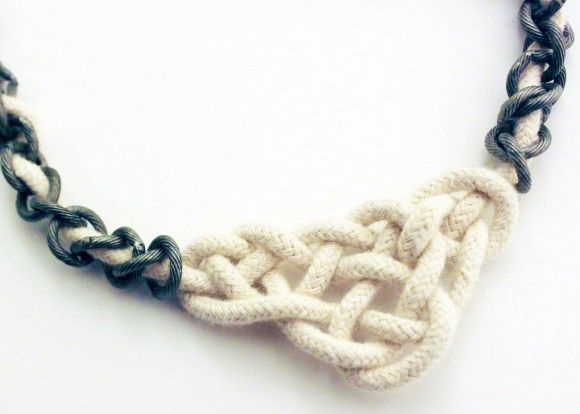 rope + chain #diyDollar Stores Crafts, Necklaces Tutorials, Celtic Knots Tutorials, The Knots, Chains, Beads, Jewelry, Knots Necklaces, Diy