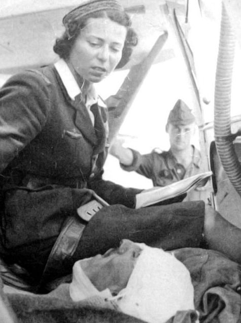 Mariana Dragescu with a wounded Romanian soldier, 1942, pin by Paolo Marzioli