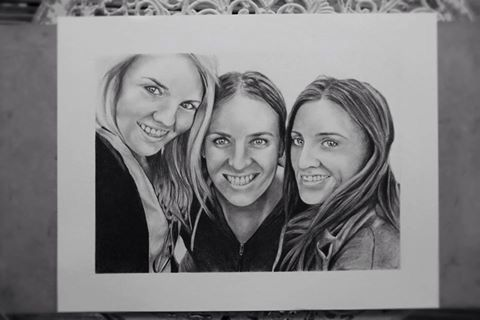 My drawing of the three sisters portraits.  Amy Peters-Artist Facebook
