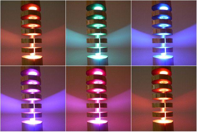 Sie Kaufen Eine Exklusive Stehlampe Aus Einem Massivholz Mit LED Beleuchtung  In RGBWW. Bei Diesem