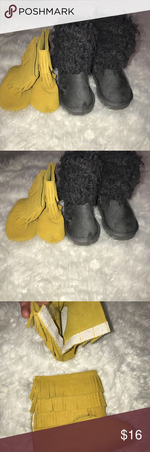 Toddler girls boots 7c Good condition toddler girl boots. Mustard yellow.mocs and gray boots. Barely worn.  Bought yellow boots off of baileys blossom   Gray were bought off zulily toddler girl 7 Shoes Boots