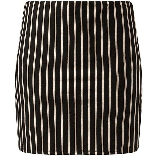 Black and Camel Pinstripe Tube Skirt (610 RUB) ❤ liked on Polyvore