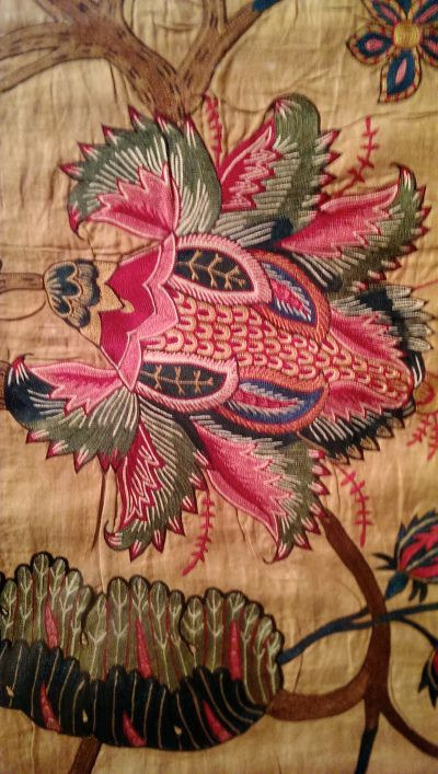 this wonderful winged insect from an Indian chintz made mid 18th-century and on view at the Met's Interwoven Globe
