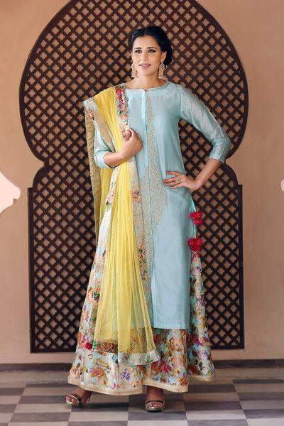 Pallazo pants, silk kurta, blue and yellow dupatta ,