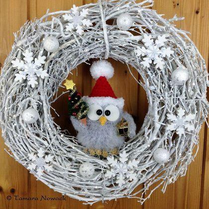 Новый год 2016 ручной работы. Ярмарка Мастеров - ручная работа. Купить Новогодний венок с совой. Handmade. Дизайн интерьера, дерево