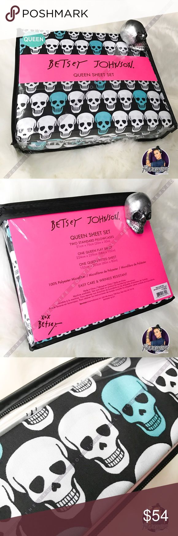 Betsey Johnson blue skull bed sheet set NEW WITH TAGS    SKULL LOVERS !  I personally have these on my bed and they are so incredibly soft ! Vibrant color .  Two pillow cases , one fitted sheet , one flat sheet .     Use the OFFER BUTTON • bundle for 10% off       🤗 please no drama ladies lets be nice 🤗    • 5 star rating • over 300 sales • smoke free home • 100% authentic • packedtokill •         |💀| www.thethugwife.com |💀|            🚫 🙅🏻 N O   TRADES 🙅🏻 🚫 Betsey Johnson Other