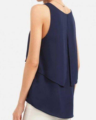 Fashion fringe tank top for women navy sleeveless t shirt