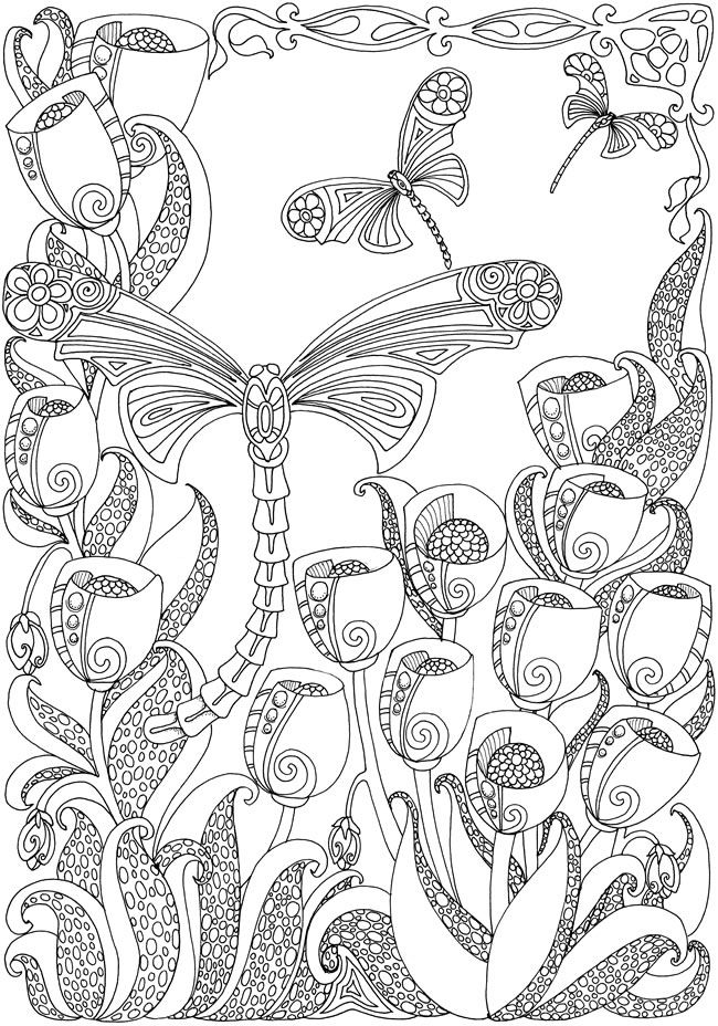 Dover Creative Haven Entangled Dragonflies Coloring Page 2