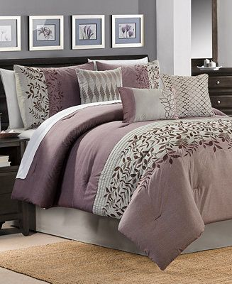 Closeout! Forester 7-Pc. Plum Full Comforter Set Bedding