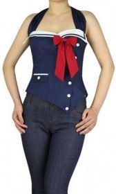 Pin Up Sailor Top, blau/weiß/rot   sasas-schatzkiste