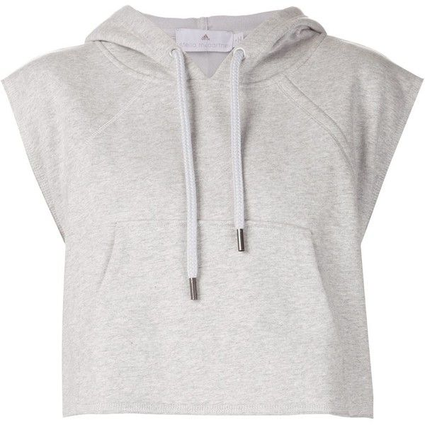 Adidas By Stella Mccartney Yo Crop Hoodie found on Polyvore featuring tops, hoodies, crop top, shirts, sweaters, grey, gray hoodie, cotton shirts, grey hoodie and adidas hoodies