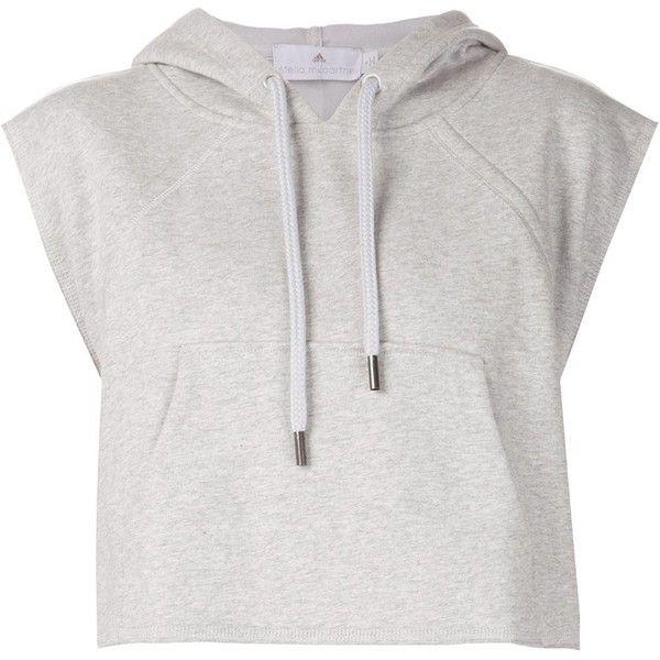 Adidas By Stella Mccartney 'Yo Crop' hoodie (£55) ❤ liked on Polyvore featuring tops, hoodies, shirts, crop top, sweaters, grey, grey hoodie, grey shirt, cropped hoodie and hooded sweatshirt