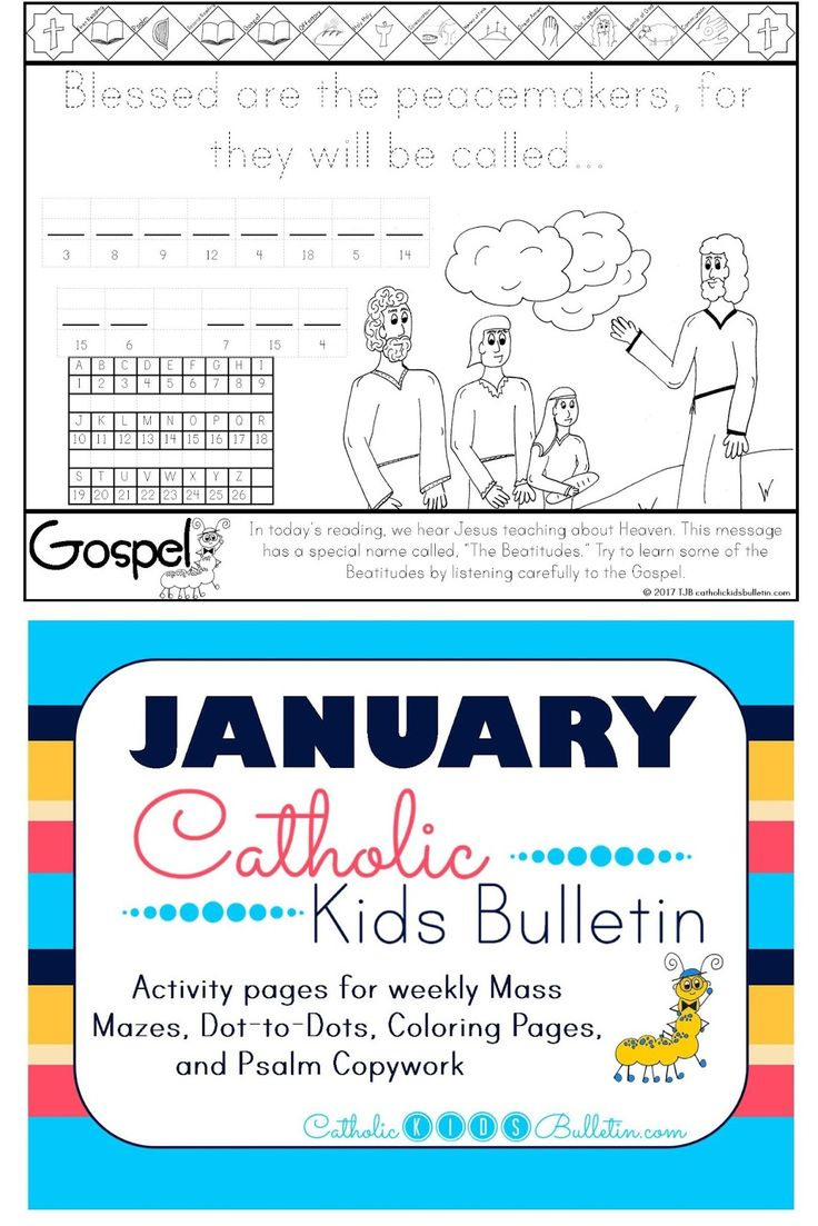 FREE Catholic Mass Bulletins and Coloring Pages! Beatitudes Matthew 5.1-12 Coloring Page Catholic Kids Bulletin