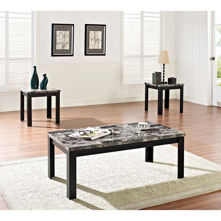 Finely 3 Piece Black Coffee End Table Set With Faux Marble Tops By Acme