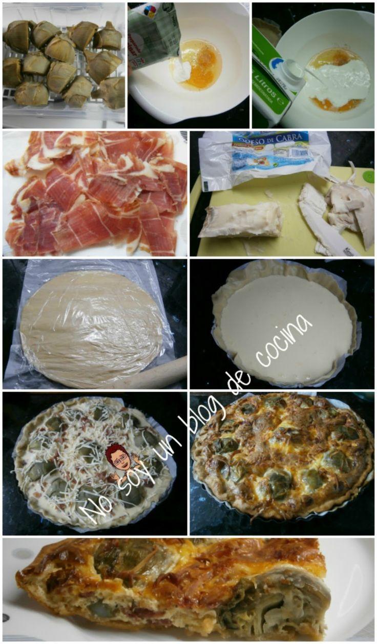 No soy un blog de cocina: QUICHÉ DE ALCACHOFAS, QUESO DE CABRA Y JAMÓN SERRANO