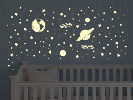 Tapete Leuchtende Sterne : Wandtattoo Set Weltall Galaxie Planeten mit Leuchtsterne Kinderzimmer