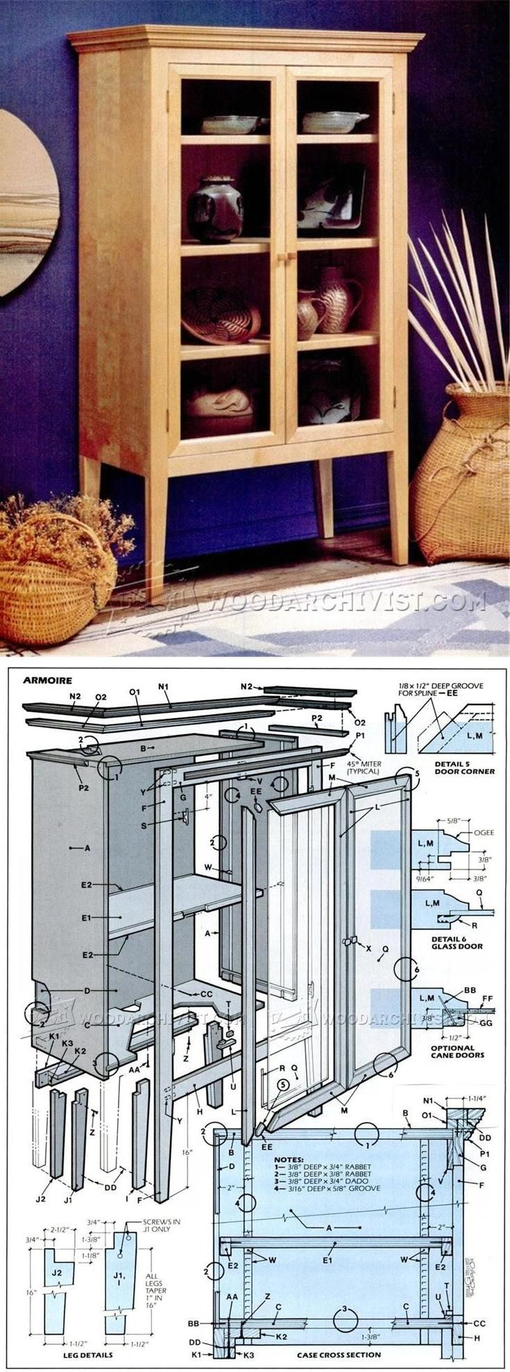 Shaker bedroom furniture plans - Armoire Plans Furniture Plans And Projects Woodarchivist Com