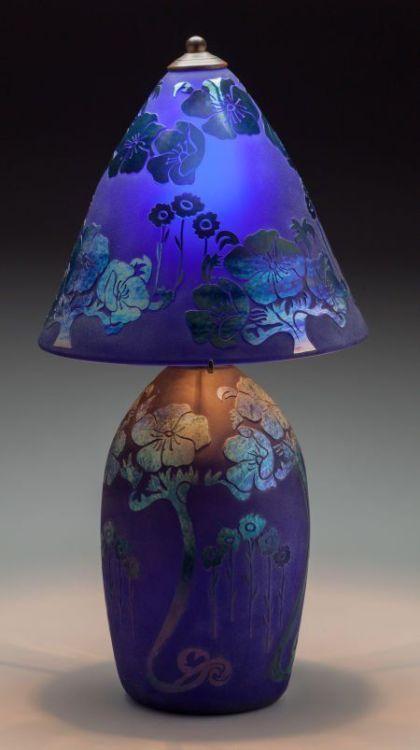 Schneider-Style Cobalt and Iridescent Glass Lamp