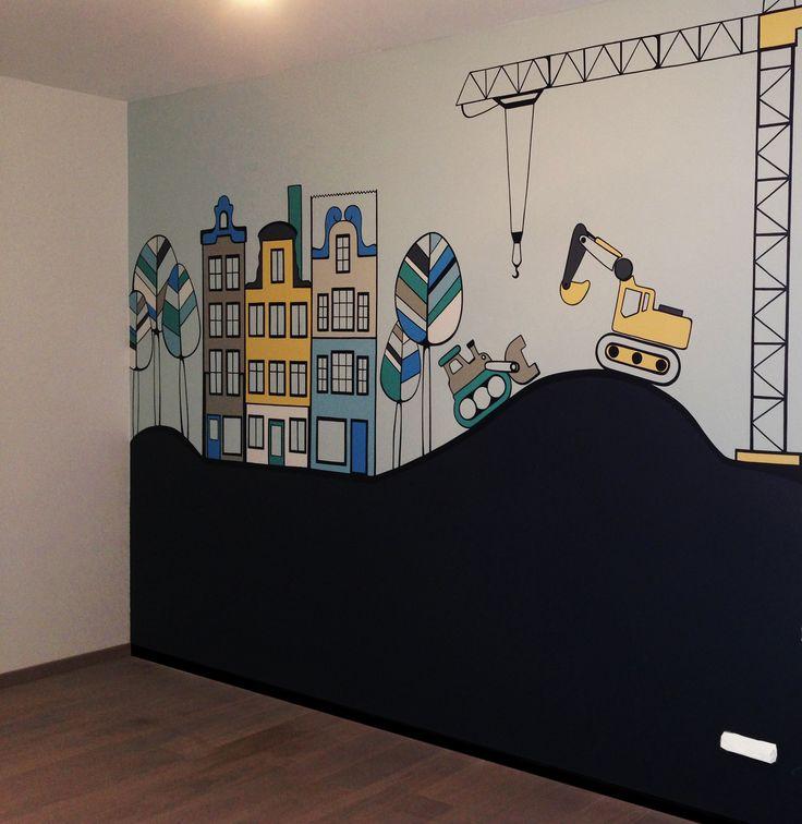 """ Andrei's wall"" kids wall mural decor Pictura murala ""Peretele lui Andrei"""