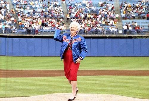 Barbara Bush Throws The Ceremonial First Pitch Of A Texas