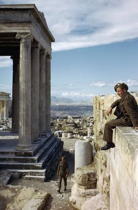 British soldiers visit the Acropolis in Athens, October 1944., Tanner (Capt)