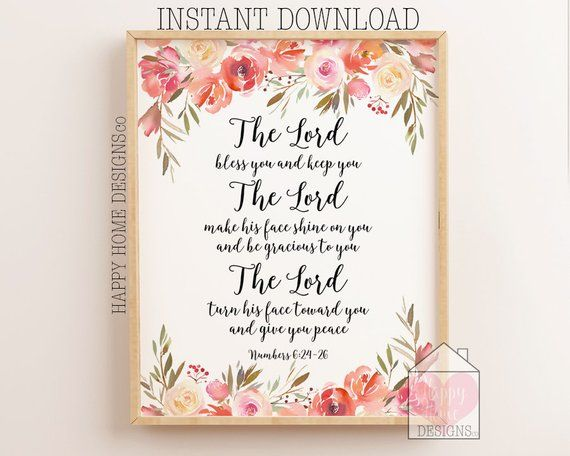 The Lord Bless You And Keep You Numbers 6 24 26 Christian Etsy Christian Prints Nursery Bible Verse Art Christian Wall Art