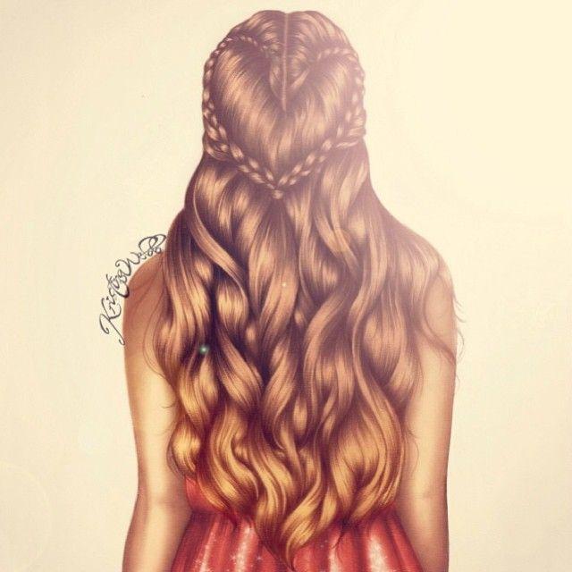 Awesome Long Hair Drawing #hairstyle #girl / Fantastico disegno di capelli lunghi #acconciatura #pettinatura #ragazza - Illust. by Kristina Webb