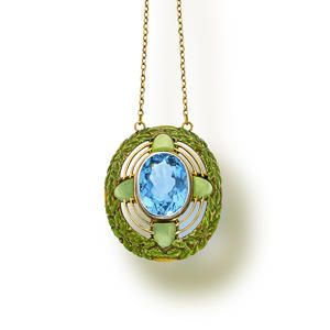 An arts and crafts aquamarine, chrysoprase and enamel pendant necklace, Tiffany & Co., circa 1910  l Bonhams Auction # 20978 in New York on the 19th of  June 2013, starting at 11:00 EDT. Click for more info.