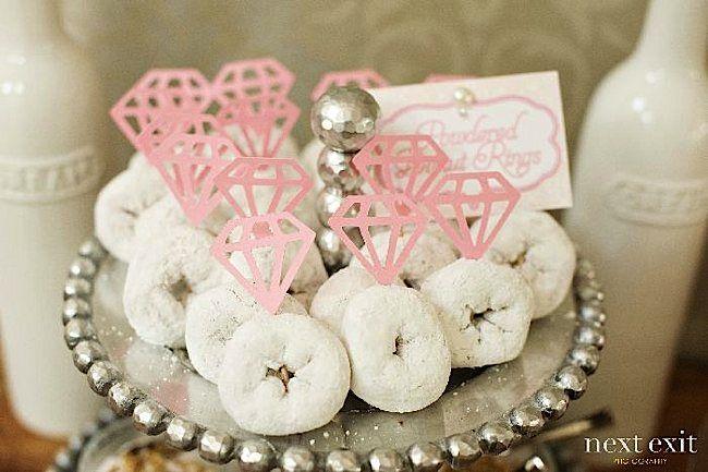 Doughnut rings for a bridal shower! Via KarasPartyIdeas.com