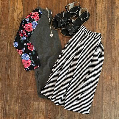 Pattern mixing with the LuLaRoe Randy tee & Madison skirt #TrinityLuLaRoe