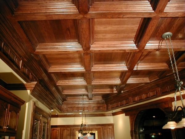 the oak coffered ceilings give it a homey cabin feel