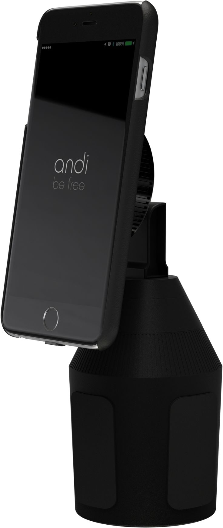 """Instruct your built-in cup or bottle holder in your vehicle with a really meaningful task and call it from now on """"andiholder"""". From this position, the andi wireless cupholder charger can perform its job as a rechargeable battery charger and as a smartphone presenter."""