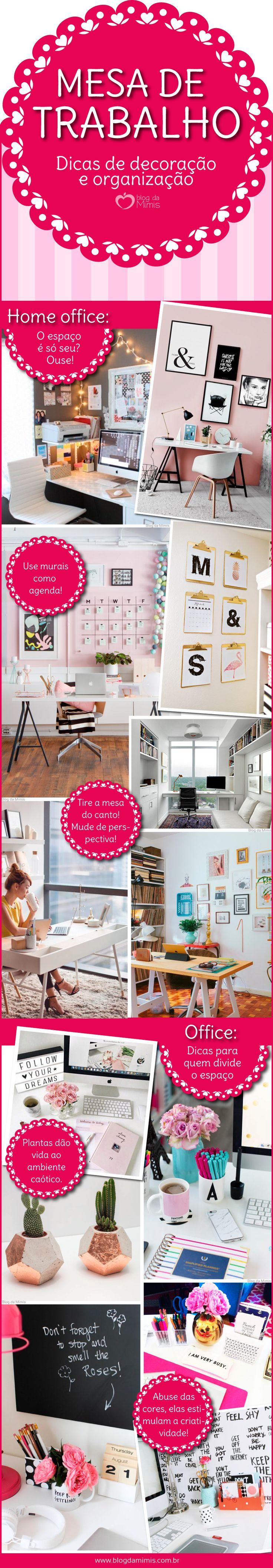 Inspirações para organizar e decorar a mesa de trabalho - Blog da Mimis #blogdamimis #infográfico #mesa #trabalho #homeoffice #office #home